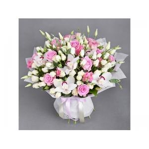 Купить букет «Нежность» из орхидеи, розы и лизиантуса в Комсомольске-на-Амуре