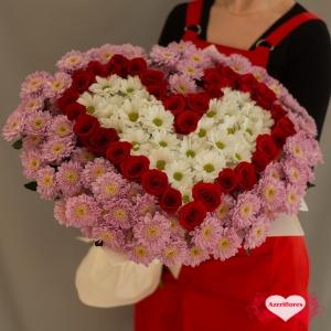 Купить букет в виде сердца с доставкой в Комсомольске-на-Амуре