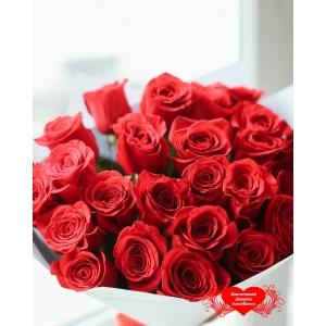 Купить букет из 25 красных роз в Комсомольске-на-Амуре