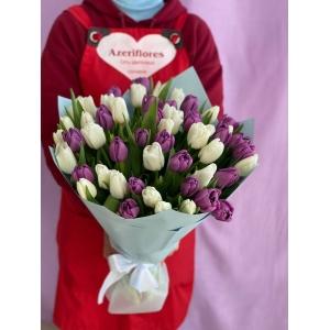 Купить бело-фиолетовую охапку из 51 тюльпанов с доставкой в [r-seoseo-city-name-pp]