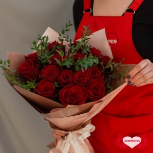Купить букет «Алый закат» из 15 бордовых роз в Комсомольске-на-Амуре