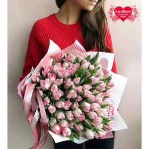 Купить букет из 101 фиолетового тюльпана в Комсомольске-на-Амуре