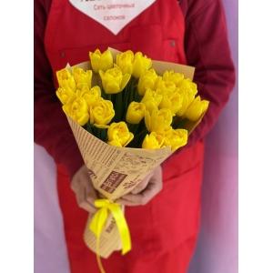 Купить букет из 25 жёлтых тюльпанов с доставкой в Комсомольске-на-Амуре