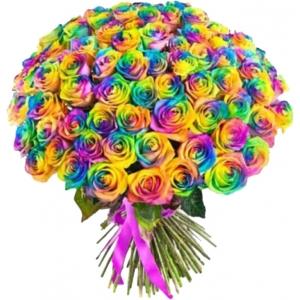 Купить охапку из 101 радужной розы в Комсомольске-на-Амуре